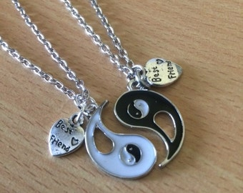Yin Yang Pendant Necklace Set Yin Yang Left & Right side Friendship Enamel Pendant Necklace Tai Chi Necklace