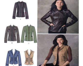 Simplicity 2341, Sewing Pattern, Jacket, Coat, Zip Front, Princess Seam, Tailor Fit, Mandarin Collar, Plus Size 16-18-20-22-24, UNCUT