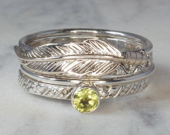 Set of 4 Stack Rings, Feather, Peridot - 925 Sterling Silver Stacking Rings - US 11 (V 1/2) #B181