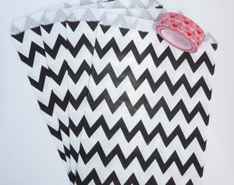 Pack of 12 black and white chevrons favor bags, birthday party, candy bar, wedding, gift