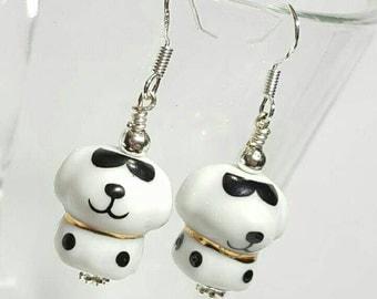 Cool dude white dog earrings