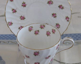 AYNSLEY ROSEBUD Bone China Cup and Saucer.  Made in England