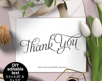 Wedding shower thank you card, Wedding thank you card, Bridal shower thank you, thank you card DIY, Printable,Instant download,S1TCV2