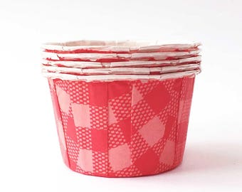 Red Gingham Candy Cups (20), Red & Pink Nut Cups, Pink Cupcake Liners, Valentine Party Supplies, Plaid Bake Cups