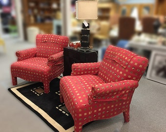 Red Arm Chairs, Animal Print, Rolled Arms, Single or Pair