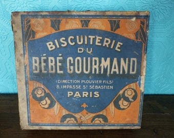 Antique French Advertising Biscuit Tin  - Biscuiterie du Bebe Gourmand - Advertising Tin - French Biscuit Box - Cookie Tin - French Kitchen