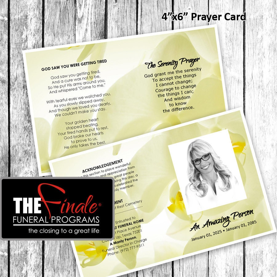 Soft Yellow Glowing Orchids Prayer Card Matching Printable