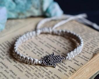 Hamsa Bracelet. Custom Colours. Hemp Bracelet. Anklet. Hippie. Boho Jewelry. Hamsa. Buddha. Natural. Eco-Friendly. Buddha Charm.
