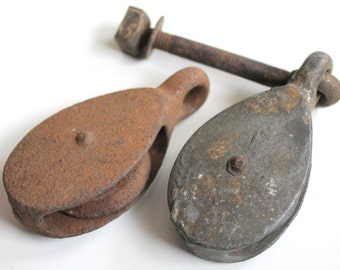 Set of Two Antique Vintage Small Pulleys Iron