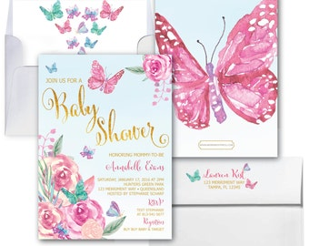 Butterfly Baby Shower Invitations // Butterflies Invitation // Baby Shower invitation // Gold // Watercolor // Floral // VICTORIA COLLECTION