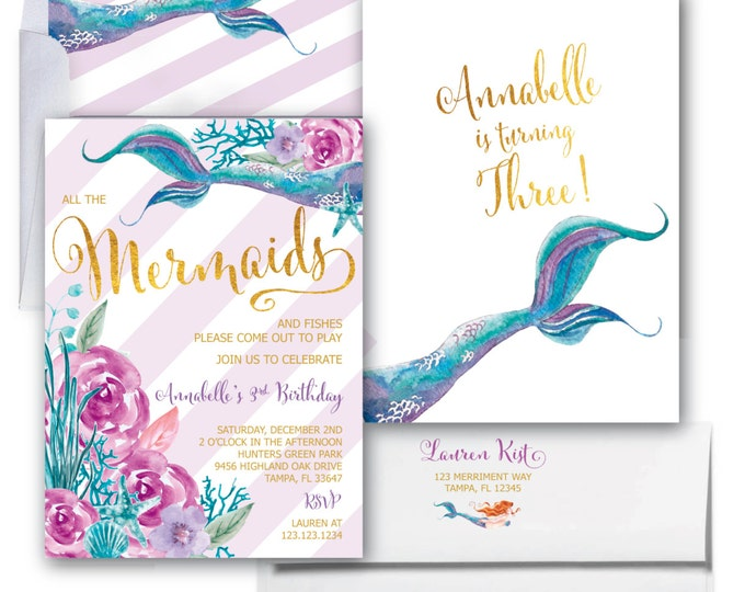 Mermaid Invitation // Under the Sea Invitation // Watercolor // Gold Foil // Boho Chic // Floral // Girls // Purple // QUEENSLAND COLLECTION