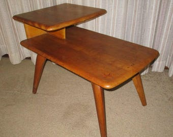 Heywood Wakefield Mid Century Two Tier Step Up Curved Legs End Table