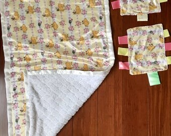 "Baby blanket 20"" x 40"" / mini blankets with ribbons set of two"
