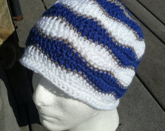 Dallas Cowboys inspired beanie, brainwaves beanie, team spirit beanie, blue and white, support your team, all sizes, Handmade crochet hat