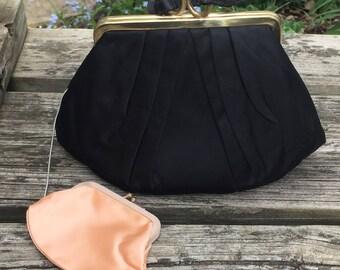 HL vintage black satin handbag clutch with attached change purse