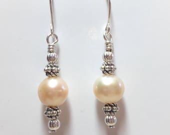 Real Pink Pearl Dangle Earrings