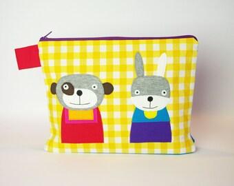 """Diaper bag/cosmetic bag """"Bear and Bunny"""""""
