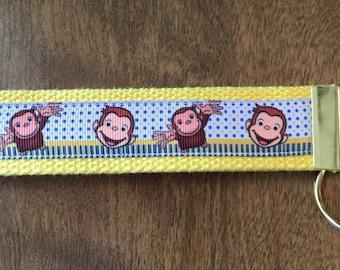 Curious George Key Chain Zipper Pull Wristlet
