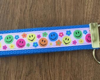 Happy  Face Key Chain Wristlet Zipper Pull