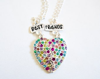 Best Friends Bff necklace crystal heart 2 in 1 necklace set girls gift