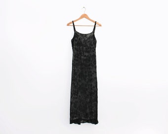 Black corded lace vintage midi slip dress