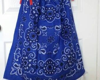 Bandana Dress - Girl's Western Dress - Size 7/8 - Summer Dress - Children's Clothing - Young Lady's Blouse - Western Wear - Royal Blue