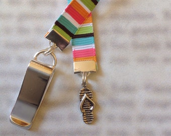 Flip Flop bookmark with clip - Attach clip to book cover then mark the page with the ribbon. Never lose your bookmark!