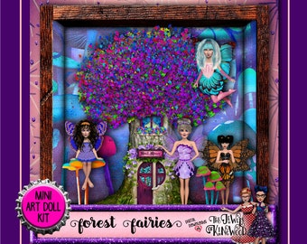 Fairy Art Doll Kit - Forest Fairy Art Dolls - Digital Clipart - DIY Project Supplies - Printable Papers - Shadowbox Kit - Instant Download