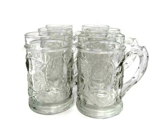 Vintage Crystal Beer Mugs |  Drinking Glasses |  Vintage 1970s Embossed Beer Steins