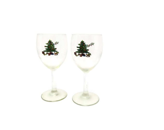 Vintage Tienshan Christmas Water Glasses Holiday Glass Christmas Tree Glass Holiday Wine Glass Holiday Drinkware Christmas Drinkware Mom
