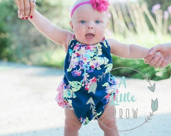 Water Bouquet Ruffled Baby Girl Romper. Baby Girl Romper. Baby Sun Suit. Baby Bubble Romper.