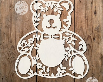 3 x Teddy Bear SVG PDF Designs - Papercutting Vinyl Template Commercial Use - new baby - baby svg - teddy papercut