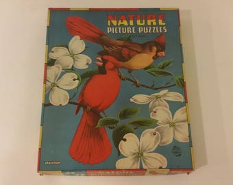 Saalfield Set of 6 Nature Jigsaw Figural Picture Puzzles Complete 7492, 1940's