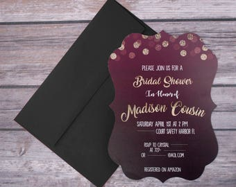 Custom Bridal Shower Invitations with foil and shape options - 5x7 - 25 pack