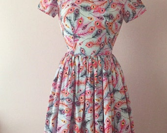 1950s 50s Inspired Midi Dress | Rockabilly Pinup Feather Print Dress | Novelty Print Retro Reproduction Womens Dress | XS S