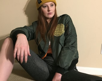 Womens Flower Of Life Bomber Jacket (Army Green)