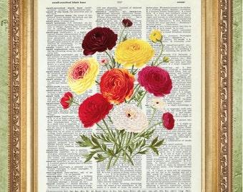 Flower Dictionary Art Prints Art Print Wall Decor Vintage Dictionary Print Dictionary Prints Floral Wall Decor Dictionary Art Botanical Art