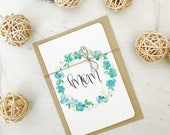 Mother's Day Card || Mom || Floral Wreath