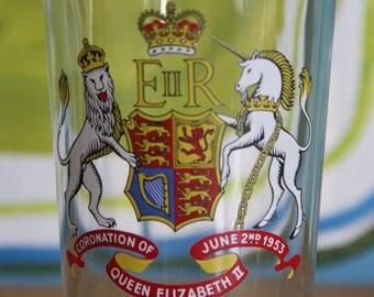Vintage 1953  Souvenir Glass , Lovely Decorative Usable Item, Queen Elizabeth II Collectible, 2nd June Coronation