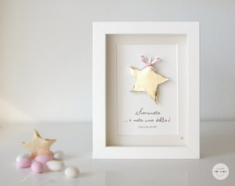 Baby name and date personalized gift - gift birth baptism - sentence: a star was born! star framework - gold leaf - frame and glass