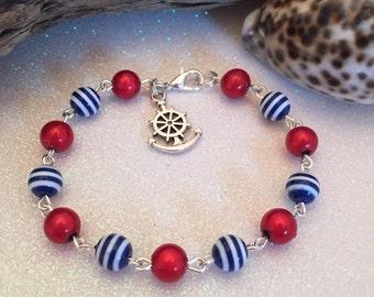 New Nautical,sea,ocean bracelet,red,blue n white striped bead linked bracelet,silver plated,anchor charm,unique,Uk Shop,rockabilly,sailor