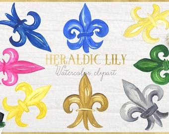 Watercolor heraldic Lily. Watercolor clip art. wedding crest elements. Crest, Boho style. Watercolour texture. Logo, watercolor emblem