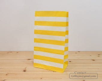 x50 Yellow striped Paper Gift Bags_Wedding Baby shower Party Favor treat candy bags _Stand up paper bags