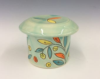 Handmade French Butter Crock in Vine & Blossom Deco. Glazed in Aqua. MA215