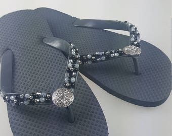 Women's black and gray beaded  flip flops