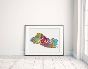 El Salvador Love - Colorful Watercolor Style Wall Art Print & Home Country Map - Travel, Moving, Engagement, Wedding, Honeymoon Gift