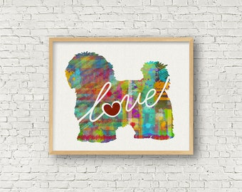 Maltese / Havanese Love - A Colorful Watercolor Print - Gift for Dog Lovers - Pet Artwork - Pet Loss Gift - Memorial - Can be Personalized