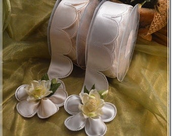 10 PIECES pull bow ribbons , confetti flowers, Jordan almonds ribbons, almond favors ribbons DIY favors Flower Pull Bow Ribbon almonds