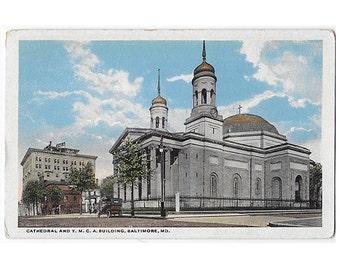 Baltimore Maryland vintage postcard | Basilica, National Shrine of the Assumption of the Virgin Mary, YMCA | 1920s MD Christian church decor