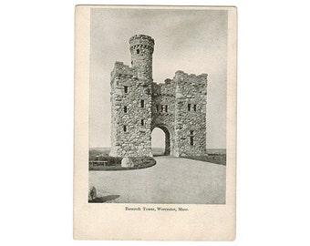 Worcester Massachusetts antique postcard   Bancroft Tower, Salisbury Park   1900s MA travel souvenir, vacation scrapbook